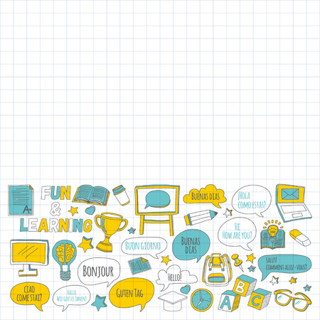 Language school linear doodle icons on notebook paper Hand drawn images Reklamní fotografie - 57296397