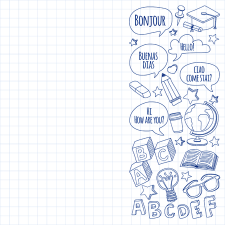 language school: Language school linear doodle icons on notebook paper Hand drawn images
