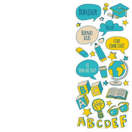 language learning: Doodle vector icons Foreing language learning Hand drawn images Illustration