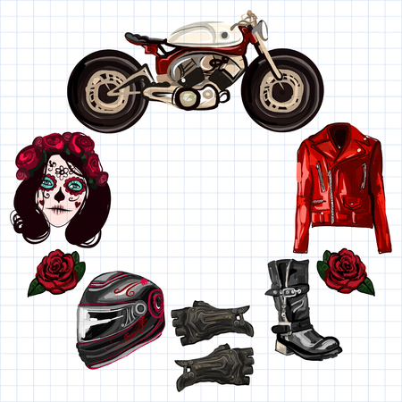 fashion images: Motorcycle fashion Biker digital watercolor hand drawn images