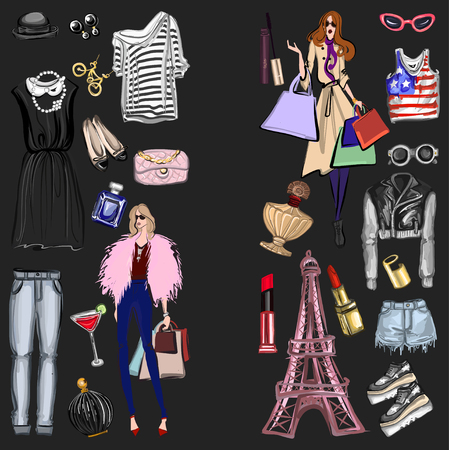 fashion images: Vector set with fashion and perfume elements Digital watercolor Hand drawn images Illustration