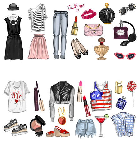 girl wearing glasses: Vector set with fashion and perfume elements Digital watercolor Hand drawn images Illustration