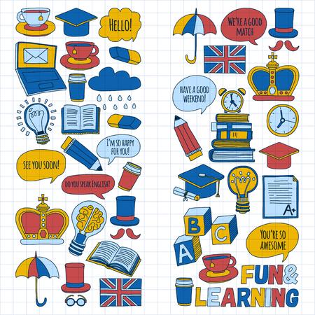 language school: Vector doodle patterns English courses Language school Hand drawn images