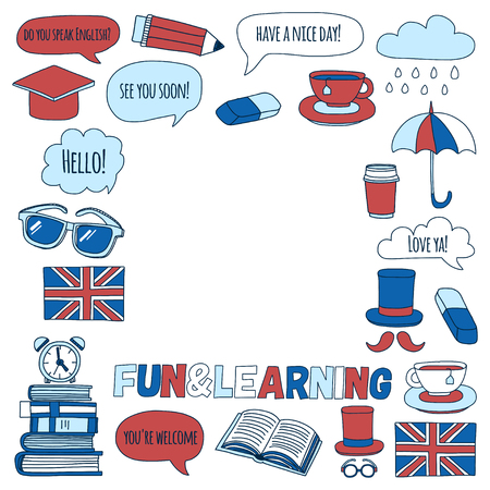 Vector doodle patterns English courses Language school Hand drawn images Stock Vector - 57684223
