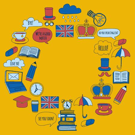 britannia: Vector doodle patterns English courses Language school Hand drawn images