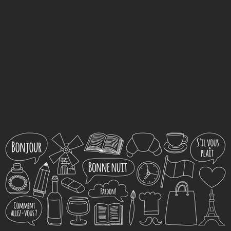 language school: Learn french Online courses Language school Vector set of doodle icons Hand drawn images