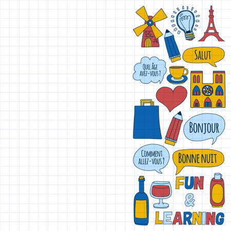 learn: Learn french Online courses Language school Vector set of doodle icons Hand drawn images