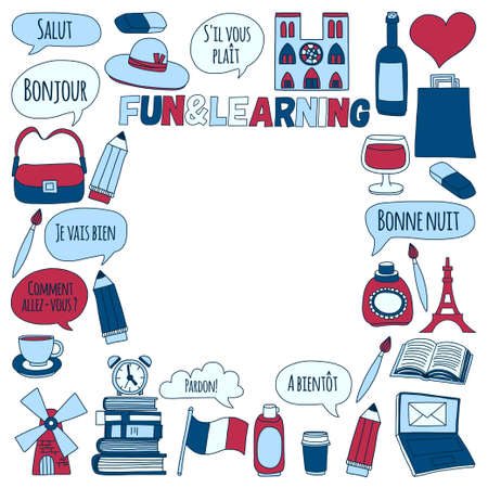 moulin: Learn french Online courses Language school Vector set of doodle icons Hand drawn images