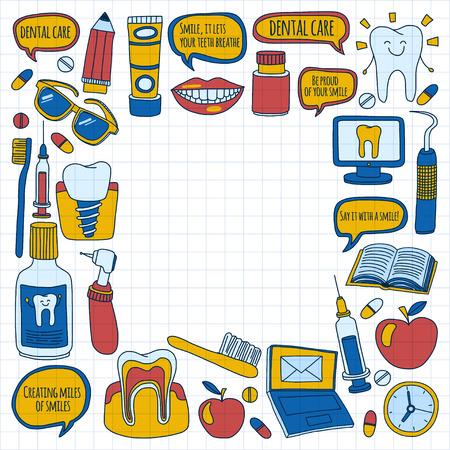dientes sanos: Odontología Vector Doodle conjunto de iconos de los niños para el cuidado dental dibujado a mano imágenes