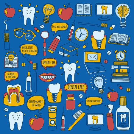 Odontología Vector Doodle conjunto de iconos de los niños para el cuidado dental dibujado a mano imágenes