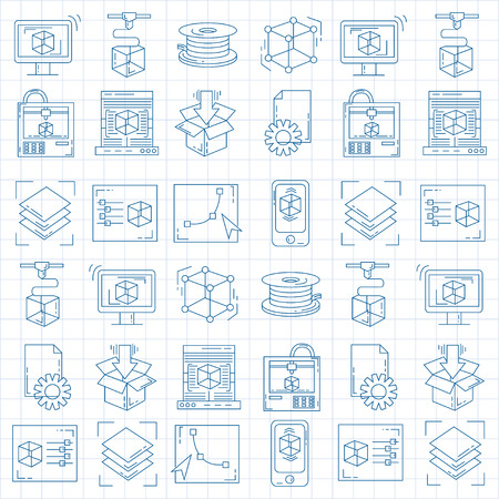 Vector doodle icons 3d printing Linear set