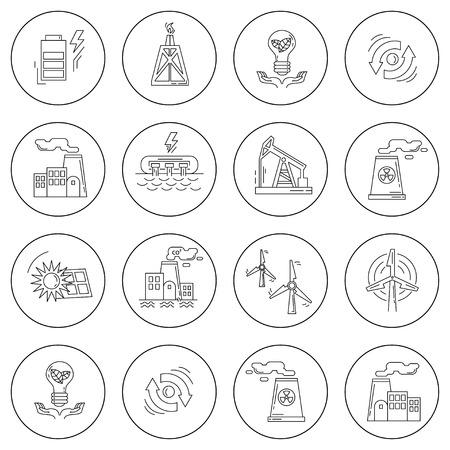 Energie Ecologie en Vervuiling Vector set van pictogrammen Linear ontwerp