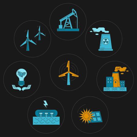 Energie-ecologie en vervuiling Vector set pictogrammen Lineair ontwerp