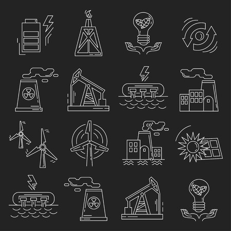 drains: Energy Ecology and Pollution Vector set of icons Linear design