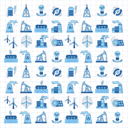 recycle waste: Energy Ecology and Pollution Vector set of icons Linear design