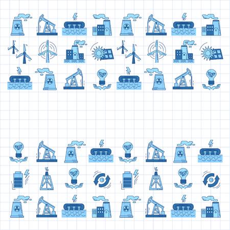 Energie Ecologie en Vervuiling Vector set van pictogrammen Linear ontwerp Vector Illustratie