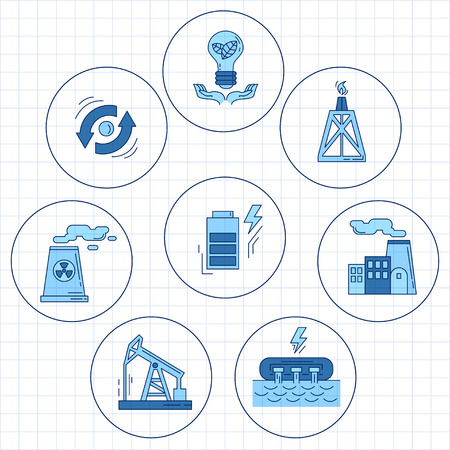 reclamation: Energy Ecology and Pollution Vector set of icons Linear design