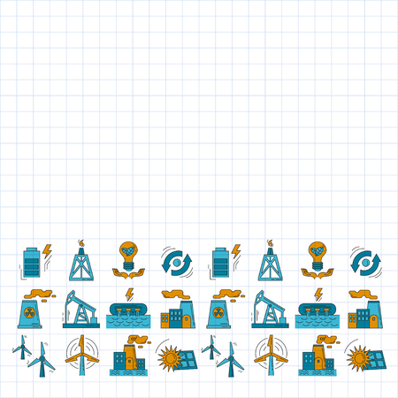 lifting jack: Energy Ecology and Pollution Vector set of icons Linear design