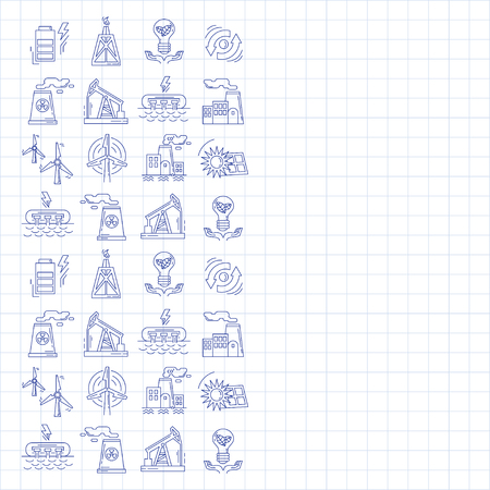 power station: Energy Ecology and Pollution Vector set of icons Linear design