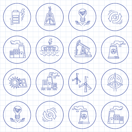 thirsty bird: Energy Ecology and Pollution Vector set of icons Linear design