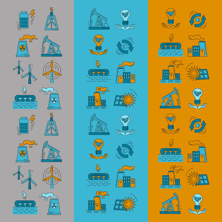 beam pump: Energy Ecology and Pollution Vector set of icons Linear design