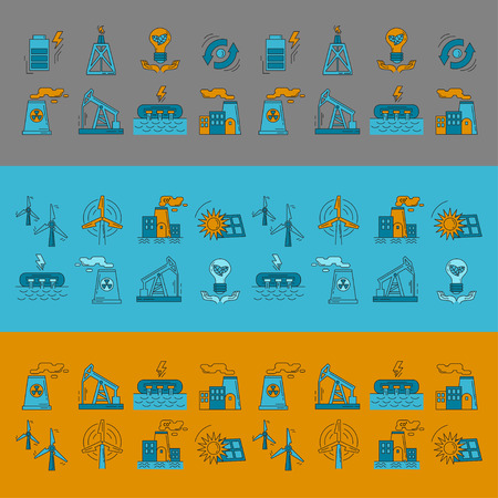 hydroelectricity: Energy Ecology and Pollution Vector set of icons Linear design
