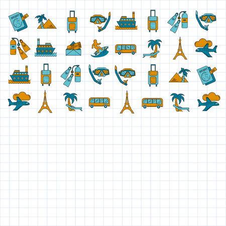 旅行アイコン シンプルな直線的なデザインのベクトルを設定
