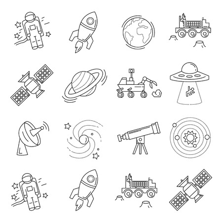 Vector set of space and astronomy icons Linear design Illustration