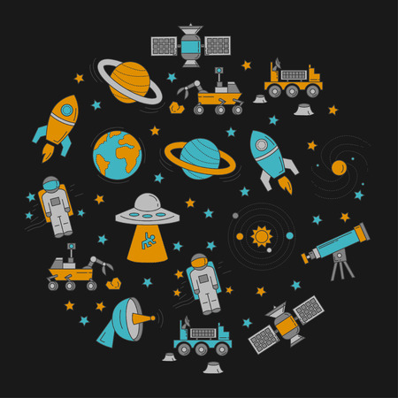 astronomy: Vector set of space and astronomy icons Linear design Illustration