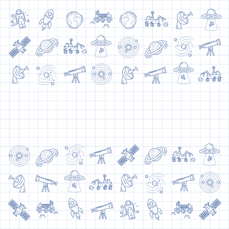lunar rover: Vector set of space and astronomy icons Linear design Illustration