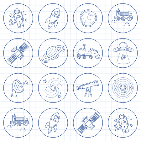 moon rover: Vector set of space and astronomy icons Linear design Illustration
