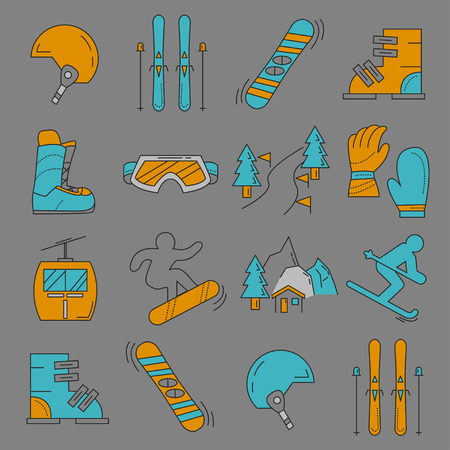 snowboard: Vector set of snowboard and ski icons Linear design