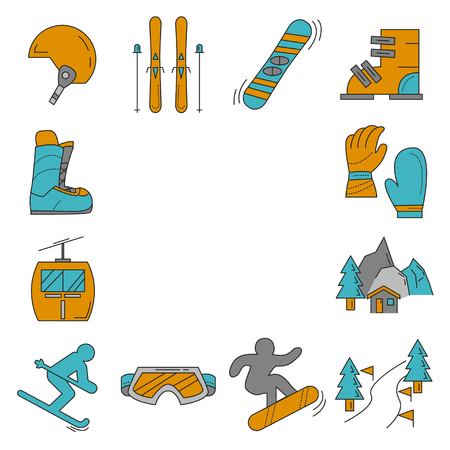 snow track: Vector set of snowboard and ski icons Linear design