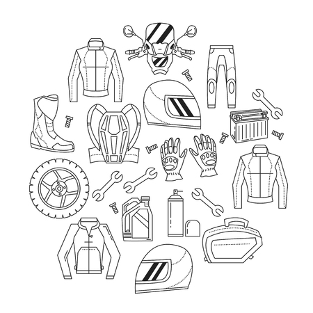 biker man: Vector set of linear motorcycle icons Parts and clothes Simple design Illustration