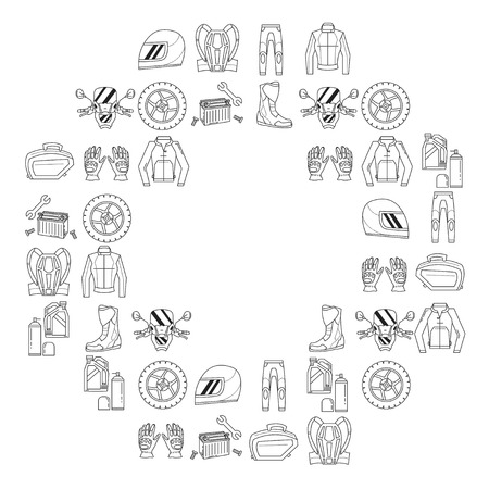 Vector set of linear motorcycle icons Parts and clothes Simple design Vectores