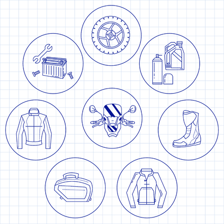 wind wheel: Vector set of linear motorcycle icons Parts and clothes Simple design Illustration