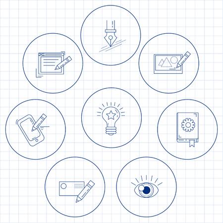 design process: Vector icon set Creative process Linear design