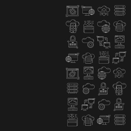 cloud storage: Cloud storage Vector icons set Linear design