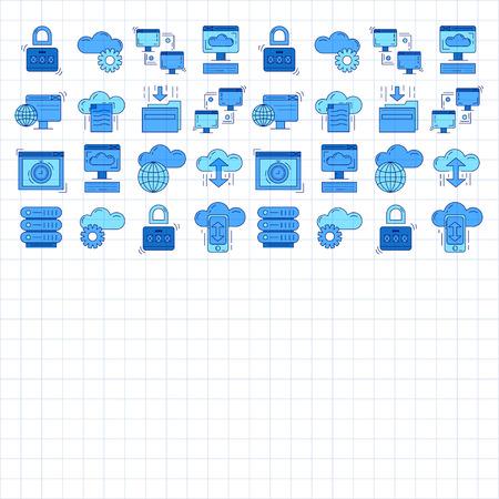 global settings: Cloud storage Vector icons set Linear design