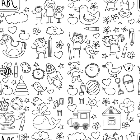 school nurse: Doodle vector kindergarten elements Hand drawn images