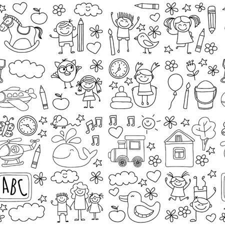 school set: Doodle vector kindergarten elements Hand drawn images