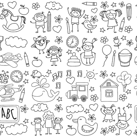 Doodle vector kindergarten elements Hand drawn images