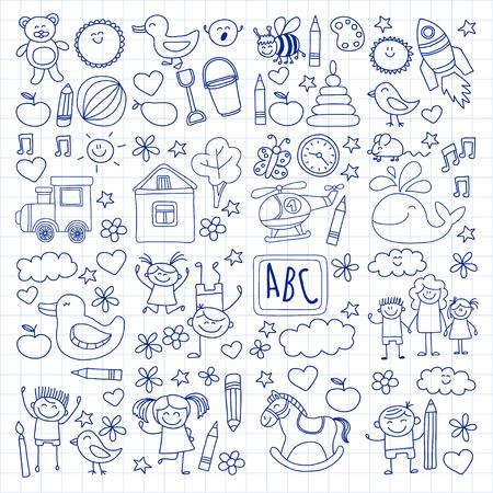 school child: Doodle vector kindergarten elements Hand drawn images