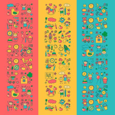 school icon: Doodle vector kindergarten elements Hand drawn images