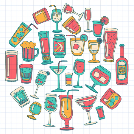 pina: Alcohol drinks and cocktails icon set in doodle style. Vector illustration.