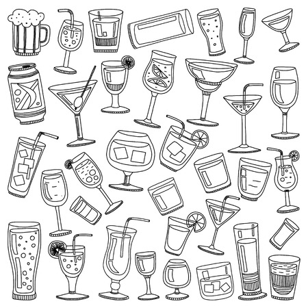 colada: Alcohol drinks and cocktails icon set in doodle style. Vector illustration.
