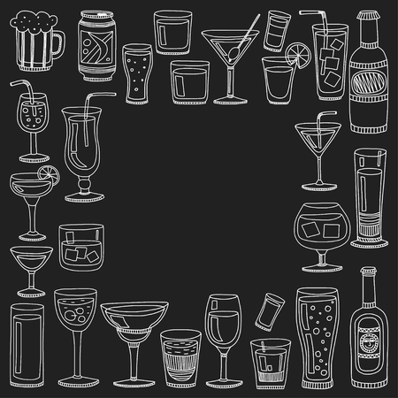 tipple: Alcohol drinks and cocktails icon set in doodle style. Vector illustration.