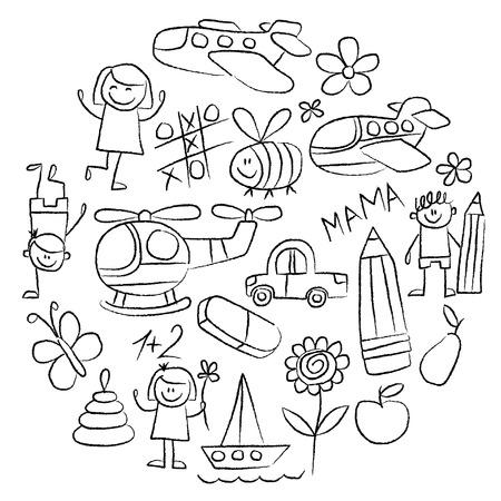vector images: Kindergarten doodle pictures Hand drawn vector images Illustration