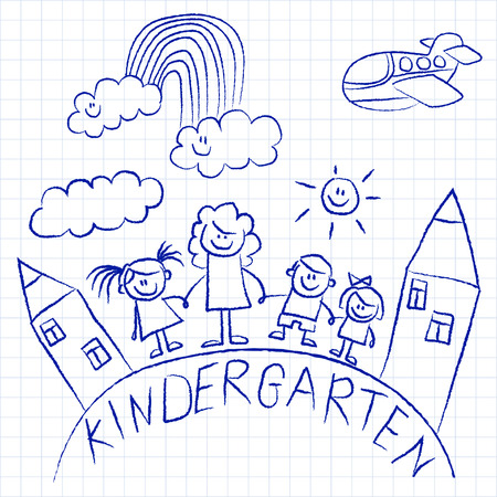 drawing paper: Kindergarten doodle pictures Hand drawn vector images Illustration
