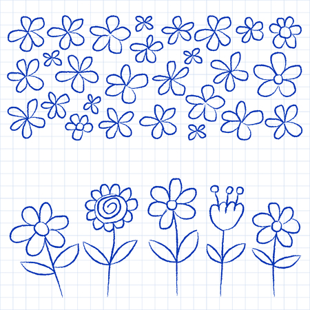 crayon: Vector set of doodle flowers Hand drawn images Illustration